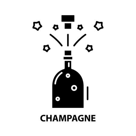 champagne symbol icon, black vector sign with editable strokes, concept illustration