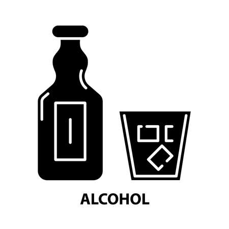alcohol icon, black vector sign with editable strokes, concept illustration 向量圖像