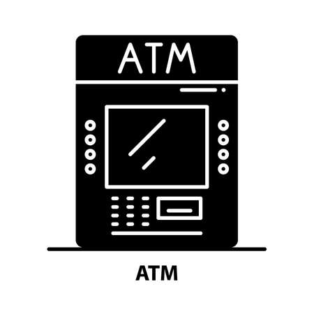 atm icon, black vector sign with editable strokes, concept illustration