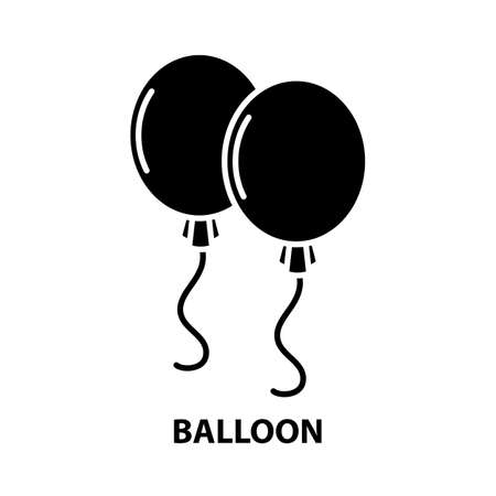 balloon symbol icon, black vector sign with editable strokes, concept illustration Иллюстрация