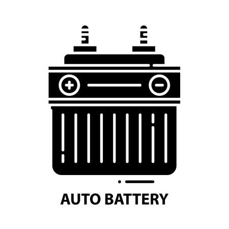 auto battery icon, black vector sign with editable strokes, concept illustration