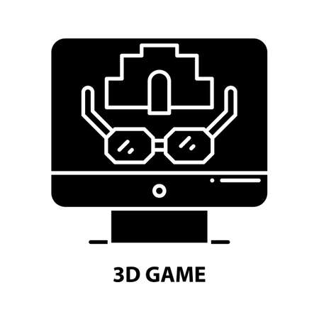 3d game icon, black vector sign with editable strokes, concept illustration