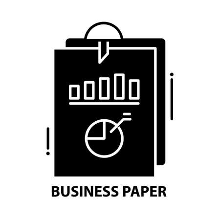 business paper icon, black vector sign with editable strokes, concept illustration