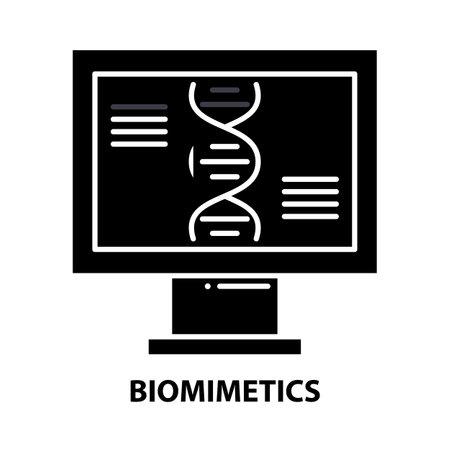 biomimetics icon, black vector sign with editable strokes, concept illustration