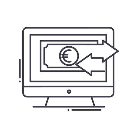 Investment monitoring icon, linear isolated illustration, thin line vector, web design sign, outline concept symbol with editable stroke on white background.