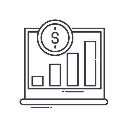 Investment forecast icon, linear isolated illustration, thin line vector, web design sign, outline concept symbol with editable stroke on white background.