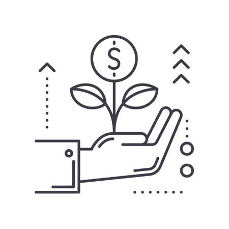 Investment growth concept icon, linear isolated illustration, thin line vector, web design sign, outline concept symbol with editable stroke on white background.