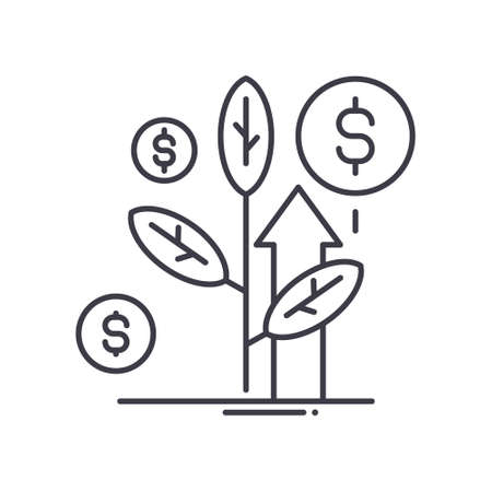 Investment growth icon, linear isolated illustration, thin line vector, web design sign, outline concept symbol with editable stroke on white background. 向量圖像