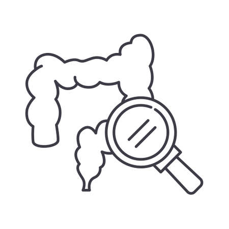 Intestines scan icon, linear isolated illustration, thin line vector, web design sign, outline concept symbol with editable stroke on white background. 向量圖像