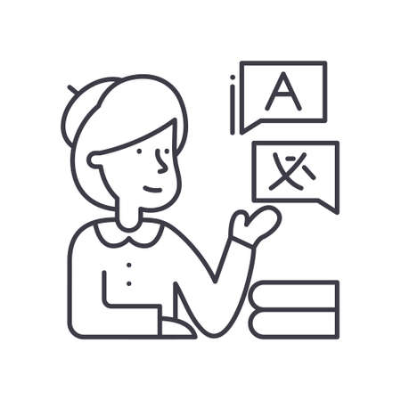 Interpreter icon, linear isolated illustration, thin line vector, web design sign, outline concept symbol with editable stroke on white background. 向量圖像
