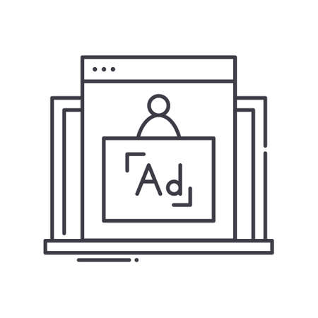 Internet marketing icon, linear isolated illustration, thin line vector, web design sign, outline concept symbol with editable stroke on white background.