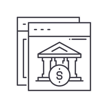 Internet banking icon, linear isolated illustration, thin line vector, web design sign, outline concept symbol with editable stroke on white background.
