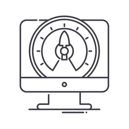 Internet speed icon, linear isolated illustration, thin line vector, web design sign, outline concept symbol with editable stroke on white background.