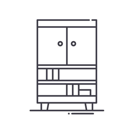 Interior wardrobes icon, linear isolated illustration, thin line vector, web design sign, outline concept symbol with editable stroke on white background. Иллюстрация