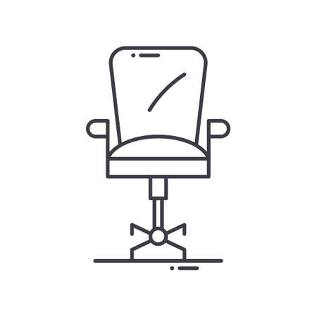 Interior office chair icon, linear isolated illustration, thin line vector, web design sign, outline concept symbol with editable stroke on white background.