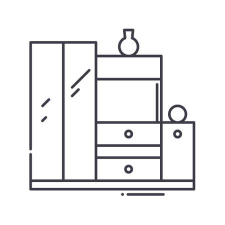 Interior wardrobe icon, linear isolated illustration, thin line vector, web design sign, outline concept symbol with editable stroke on white background. 向量圖像