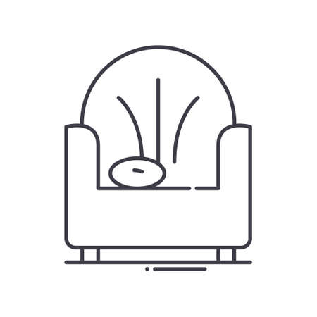 Interior sofa icon, linear isolated illustration, thin line vector, web design sign, outline concept symbol with editable stroke on white background.