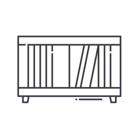 Interior shelf icon, linear isolated illustration, thin line vector, web design sign, outline concept symbol with editable stroke on white background.