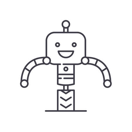 Intellegence robot icon, linear isolated illustration, thin line vector, web design sign, outline concept symbol with editable stroke on white background.