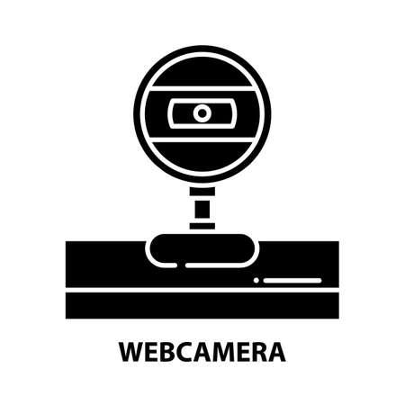 webcamera icon, black vector sign with editable strokes, concept illustration