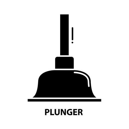 plunger icon, black vector sign with editable strokes, concept illustration