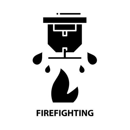 firefighting symbol icon, black vector sign with editable strokes, concept illustration 矢量图像