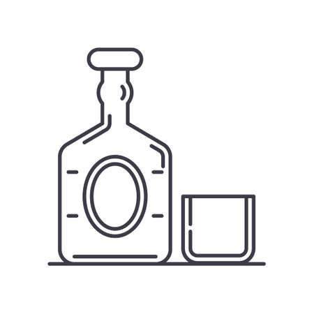 Old wiskey icon, linear isolated illustration, thin line vector, web design sign, outline concept symbol with editable stroke on white background.