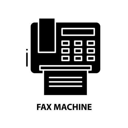 fax machine icon, black vector sign with editable strokes, concept illustration
