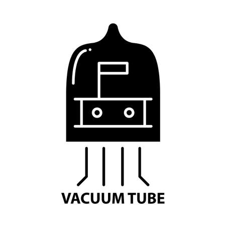 vacuum tube icon, black vector sign with editable strokes, concept illustration