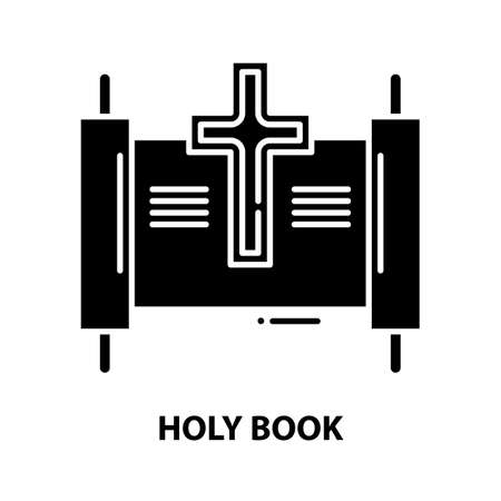 holy book icon, black vector sign with editable strokes, concept illustration