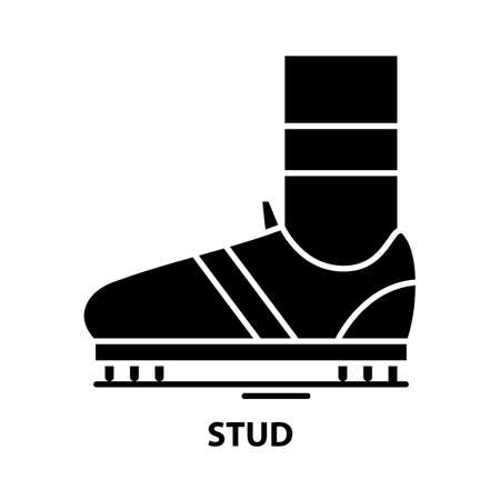 stud icon, black vector sign with editable strokes, concept illustration 矢量图像