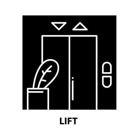 lift icon, black vector sign with editable strokes, concept illustration