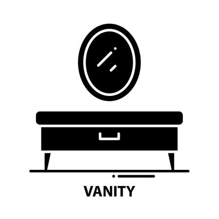 vanity icon, black vector sign with editable strokes, concept illustration
