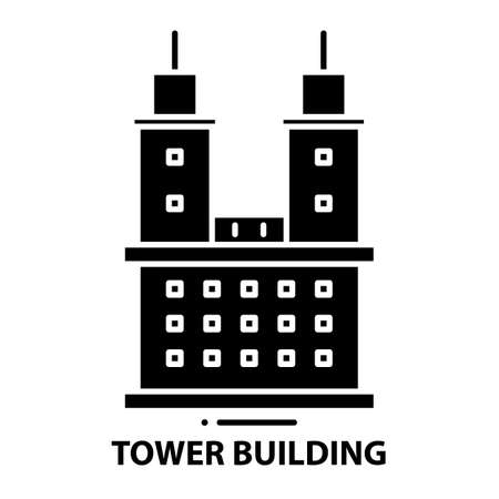 tower building icon, black vector sign with editable strokes, concept illustration