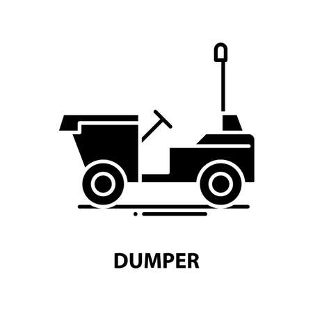 dumper icon, black vector sign with editable strokes, concept illustration
