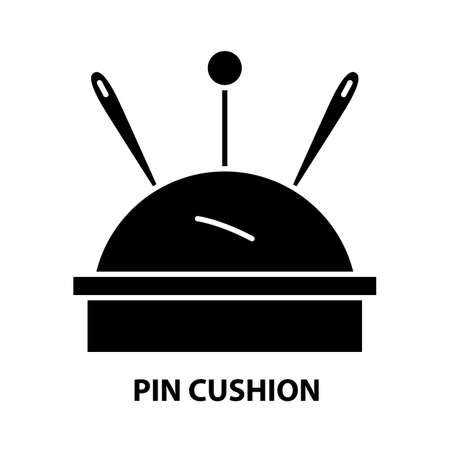 pin cushion icon, black vector sign with editable strokes, concept illustration