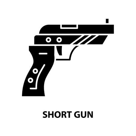 short gun icon, black vector sign with editable strokes, concept illustration