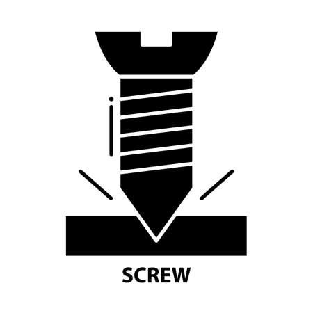 screw symbol icon, black vector sign with editable strokes, concept illustration