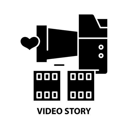 video story icon, black vector sign with editable strokes, concept illustration
