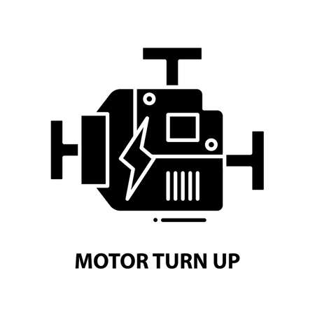 motor turn up icon, black vector sign with editable strokes, concept illustration