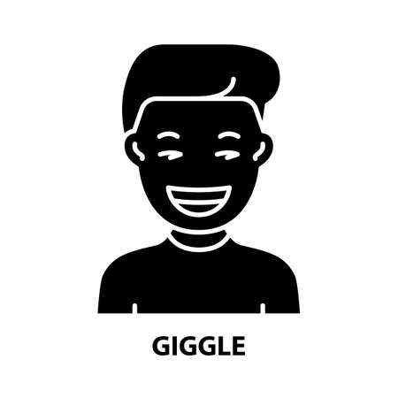 giggle icon, black vector sign with editable strokes, concept illustration