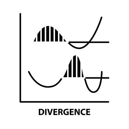 divergence icon, black vector sign with editable strokes, concept illustration Ilustracje wektorowe