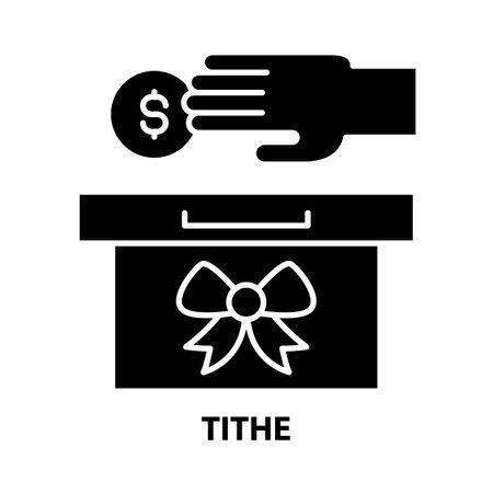tithe icon, black vector sign with editable strokes, concept illustration Vecteurs