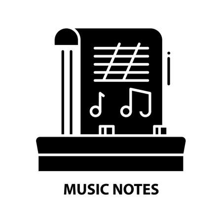 music notes icon, black vector sign with editable strokes, concept illustration
