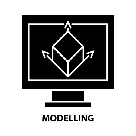 modelling icon, black vector sign with editable strokes, concept illustration