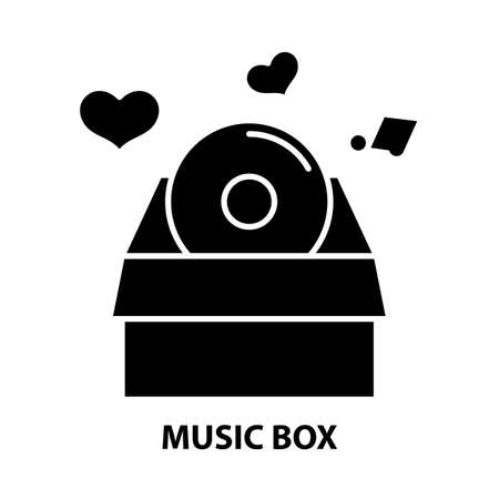 music box icon, black vector sign with editable strokes, concept illustration