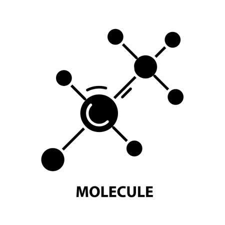 molecule icon, black vector sign with editable strokes, concept illustration