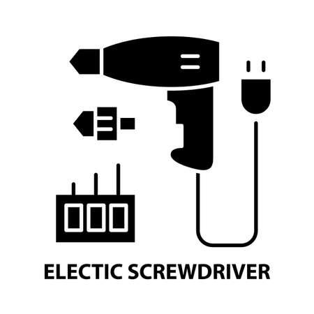electic screwdriver icon, black vector sign with editable strokes, concept illustration