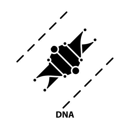 dna icon, black vector sign with editable strokes, concept illustration Иллюстрация