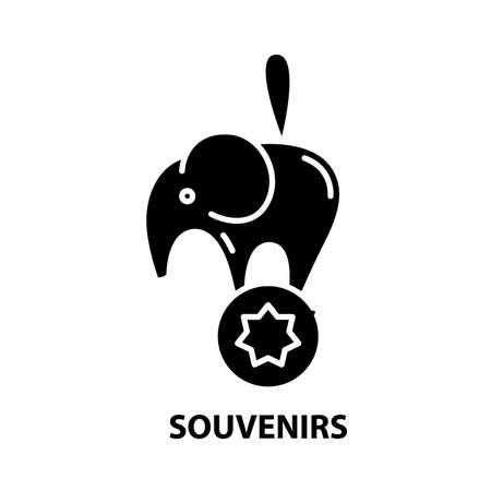 souvenirs icon, black vector sign with editable strokes, concept illustration Vetores